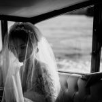 Bride and veil black & white