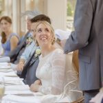 Grooms wedding speech with brides reaction