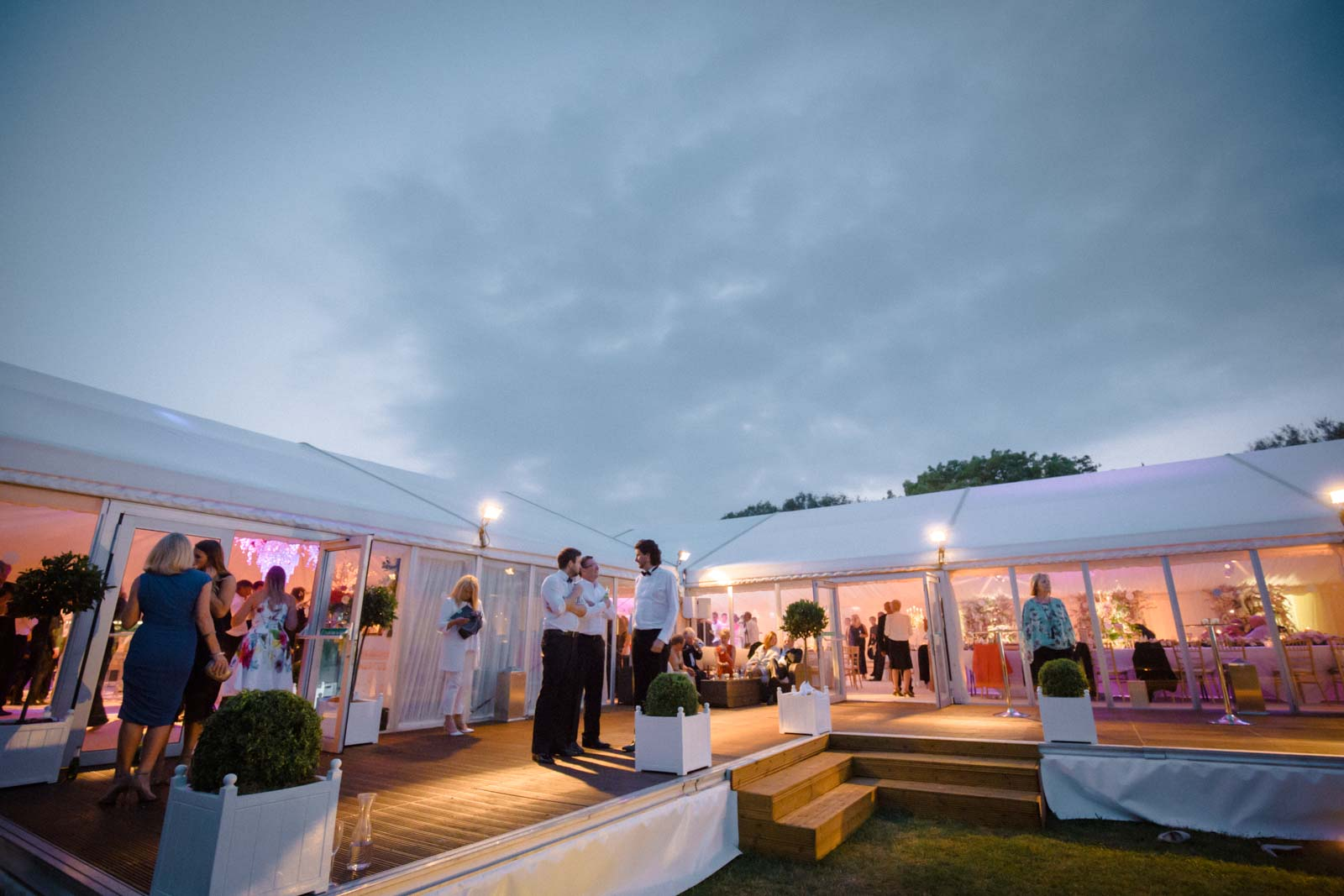 Marquee wedding photograph in the evening